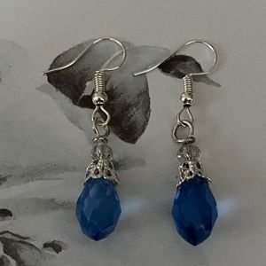 Earrings by Artisan Designer with Blue Crystal